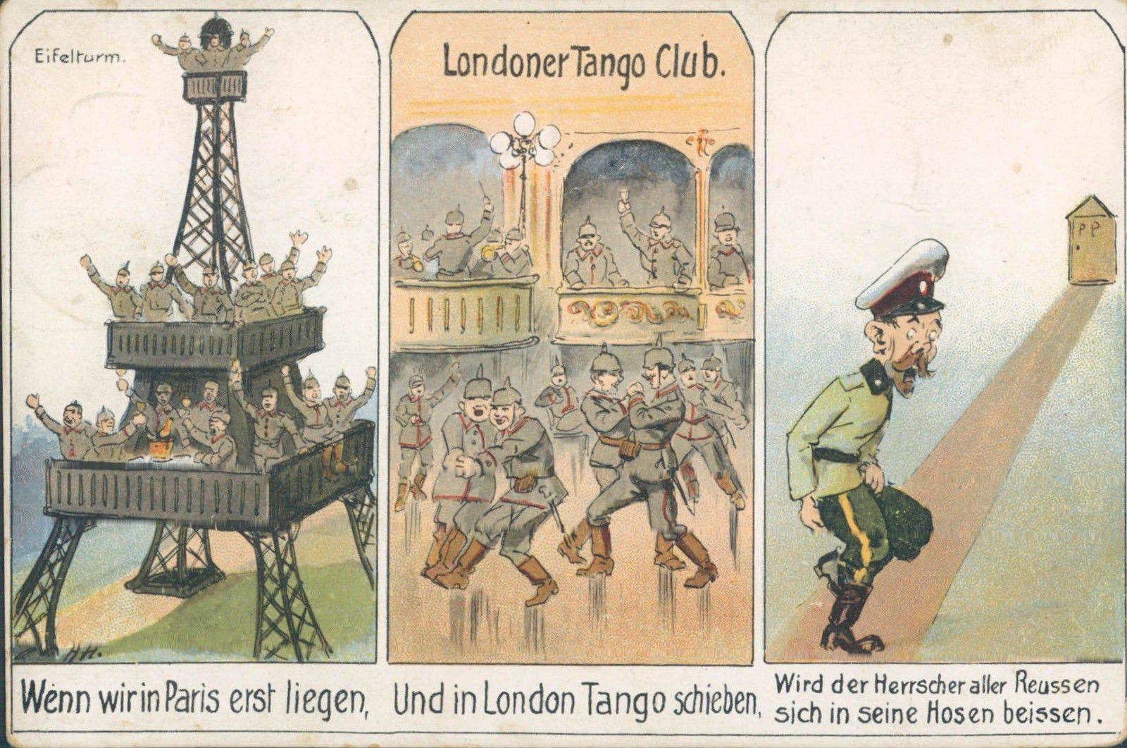 First World War German Propaganda Postcard showing Victorious Soldiers Dancing Tango with Each Other in defeated London