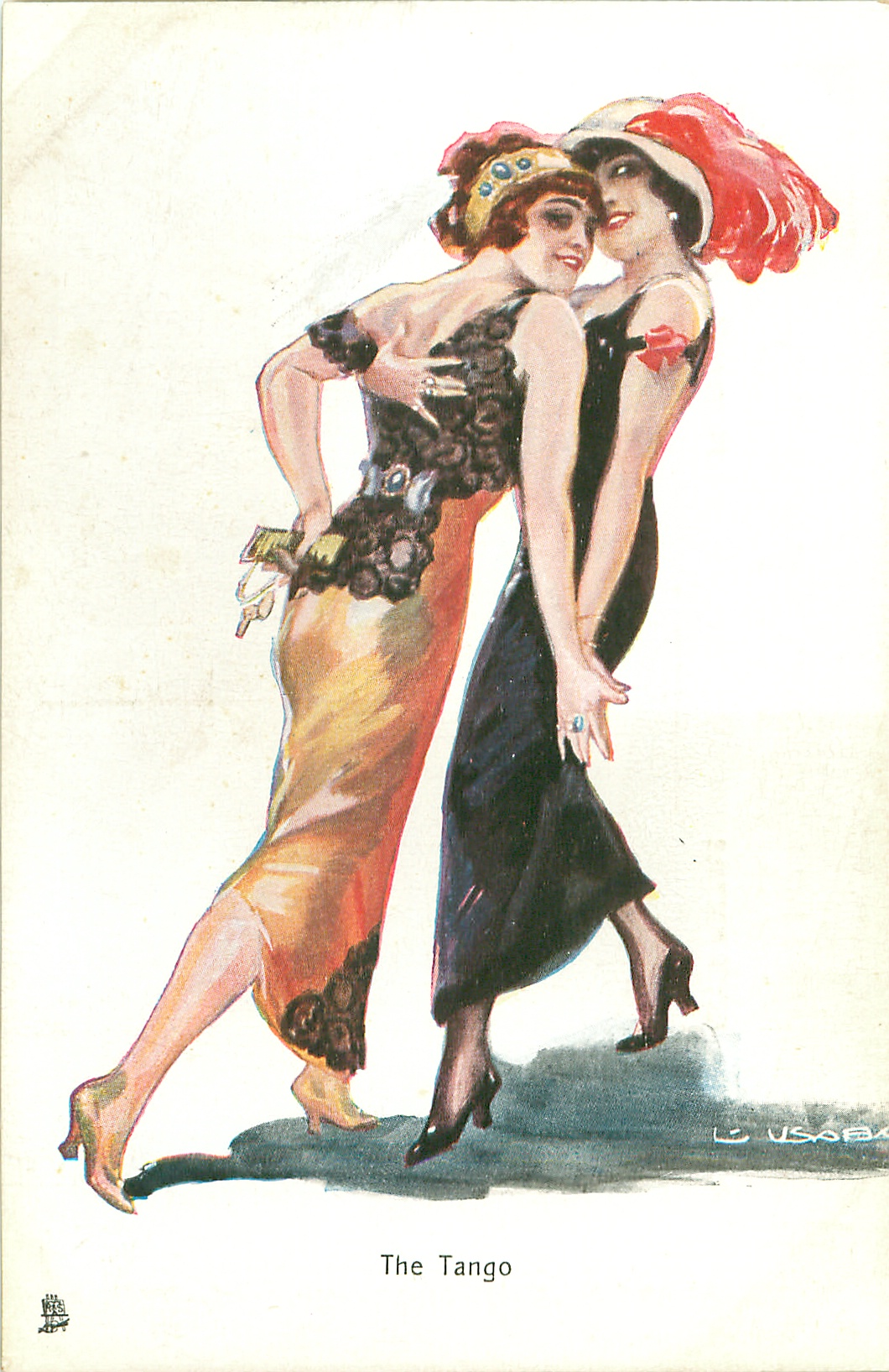 Women dancing 'The Tango' one of a set of early 20th century postcards, 1913?