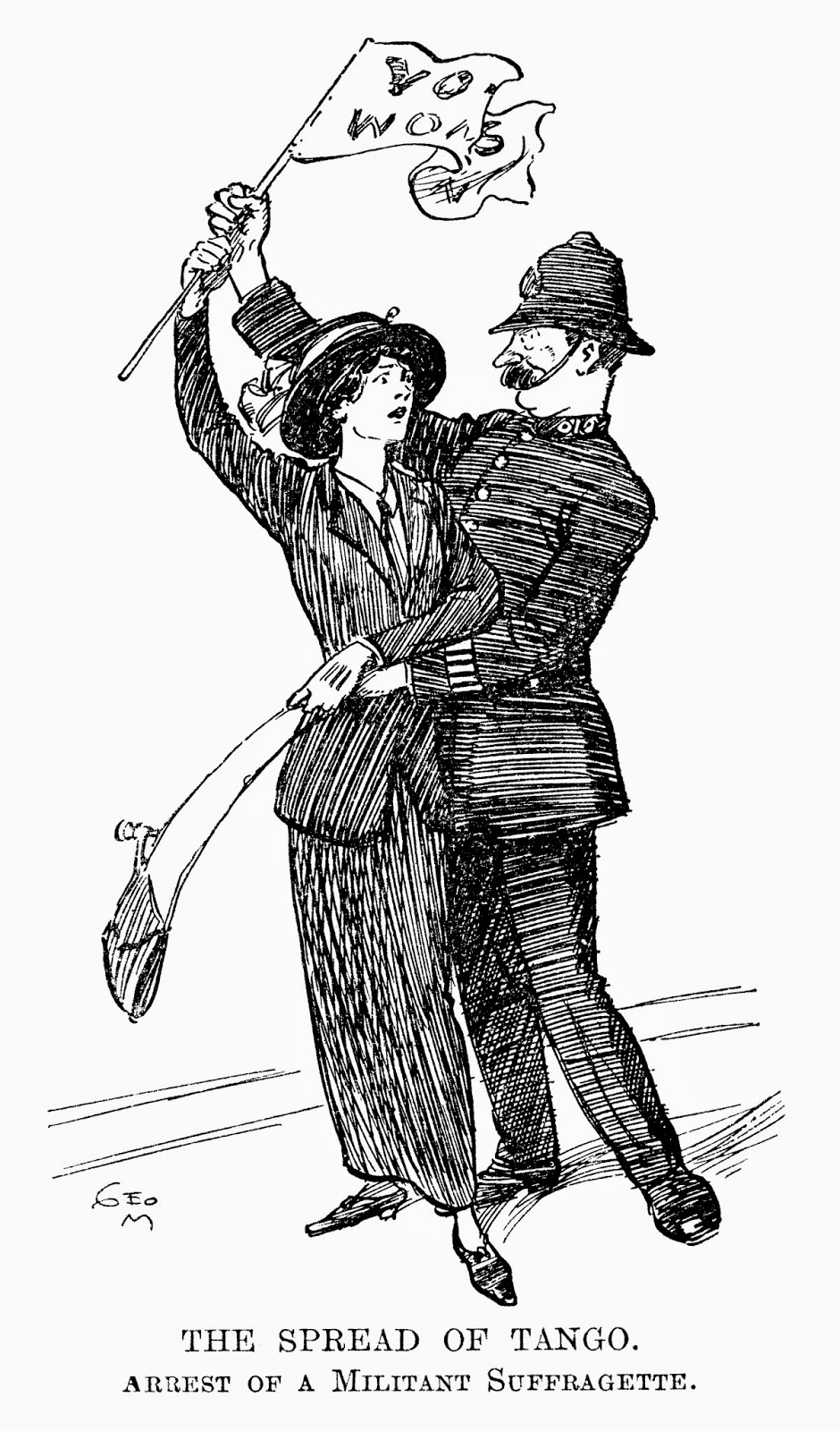"""THE SPREAD OF TANGO. ARREST OF A MILITANT SUFFRAGETTE"" Punch Magazine, London, 1913"