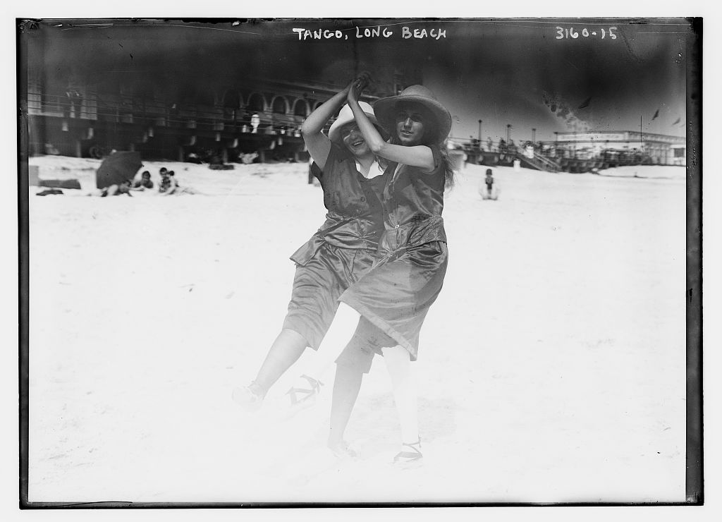Women couple dancing tango, Long Beach 1910-1915