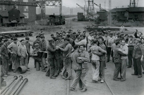 Shipyard workers dancing at Bordeaux, France, 1936