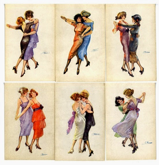Women Tango Couple Postcards by Suzanne Meunier, c1917