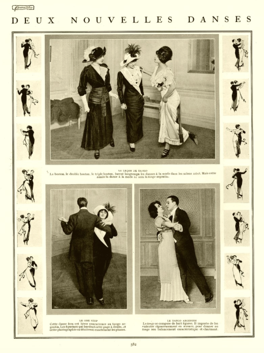 Woman teaching tango to women, Paris, 1911