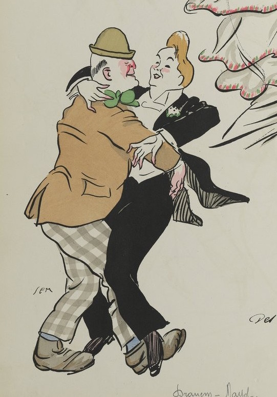 Sem Caricature 1913: Felix Mayol dancing with Dramen