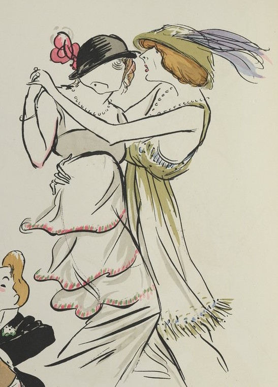 Sem Caricature 1913: Madame d'Artex dancing with Lise Radoline