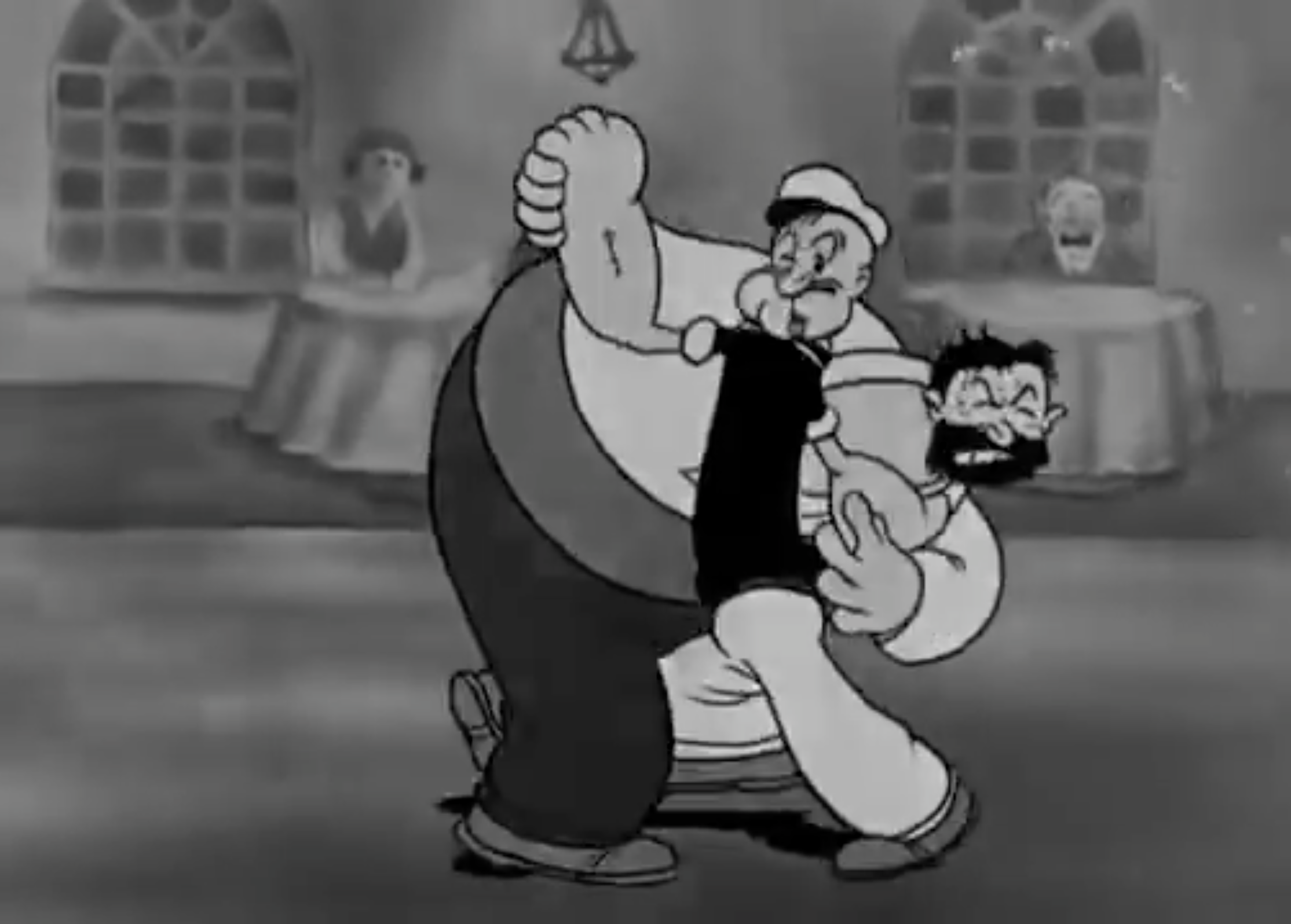 Popeye [almost] Tangos with Bluto, 1934 [still taken from cartoon]