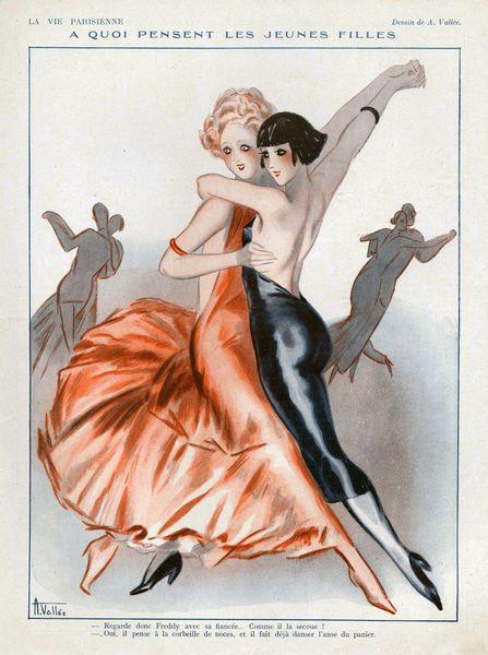 Women dancing as a couple, La Vie Parisienne, an illustration by Armand Valleé, 1931