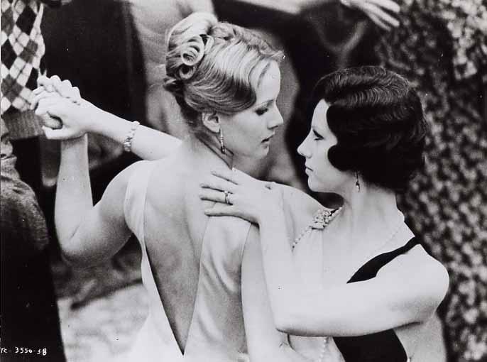 """Stefania Sandrelli and Dominique Sanda dance a tango in Fascist Italy in the 1970 Bertolucci film """"Il Conformista"""""""