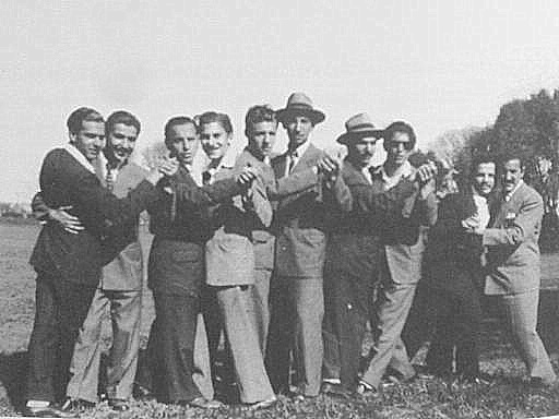 Five couples of men posing, Argentina, 1940s or 1950s?