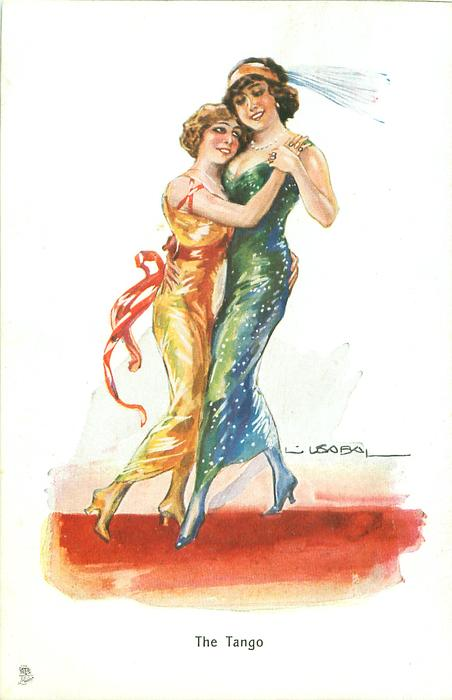 A postcard by Tuck showing a tango couple of two women, c 1913?