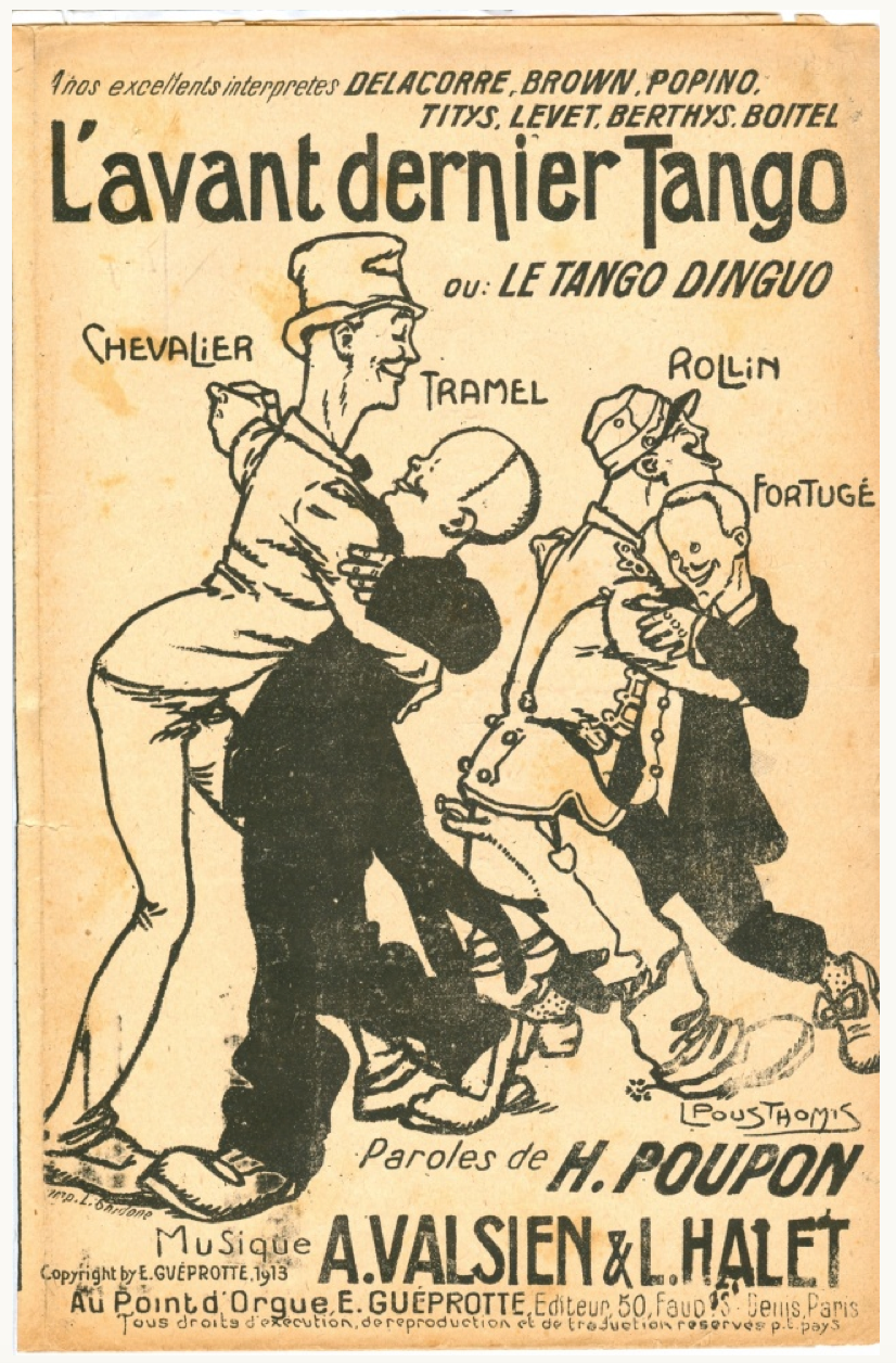Sheet Music: Maurice Chevalier dancing tango with another man, Paris 1913
