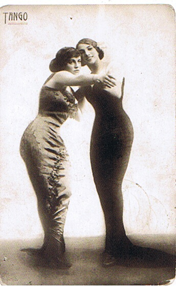 Yet another in a French postcard series showing a couple of two women, c1913?