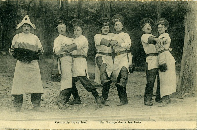 Tango in the Beverloo military camp. Early 1900s