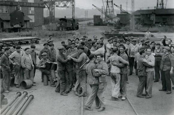 Shipyard workers dancing at Bordeaux, France, 1936