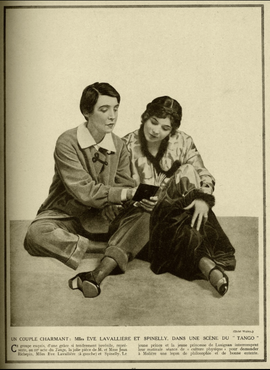 "Éve Lavalliére (as a man) and Andrée Spinelly in the play ""Tango"" 1913-14"