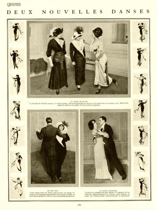 Woman teaching tango to women, Paris, 1911